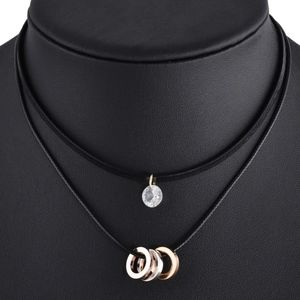 Jewelry - Tri-Color CZ Layered Black Leather Choker Necklace